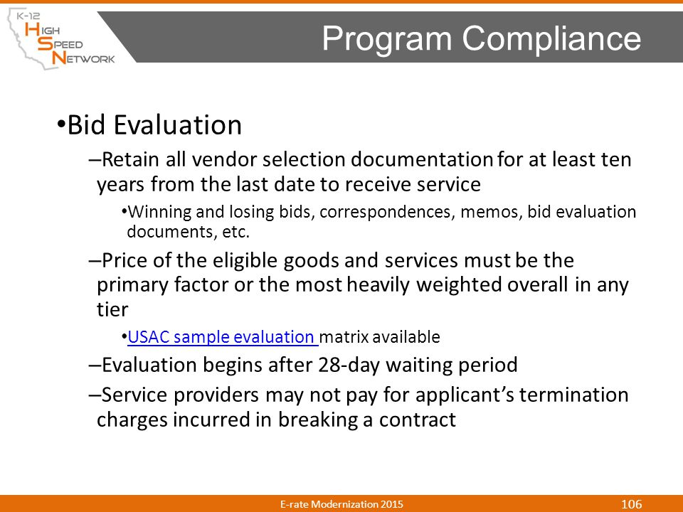 Program Compliance Bid Evaluation