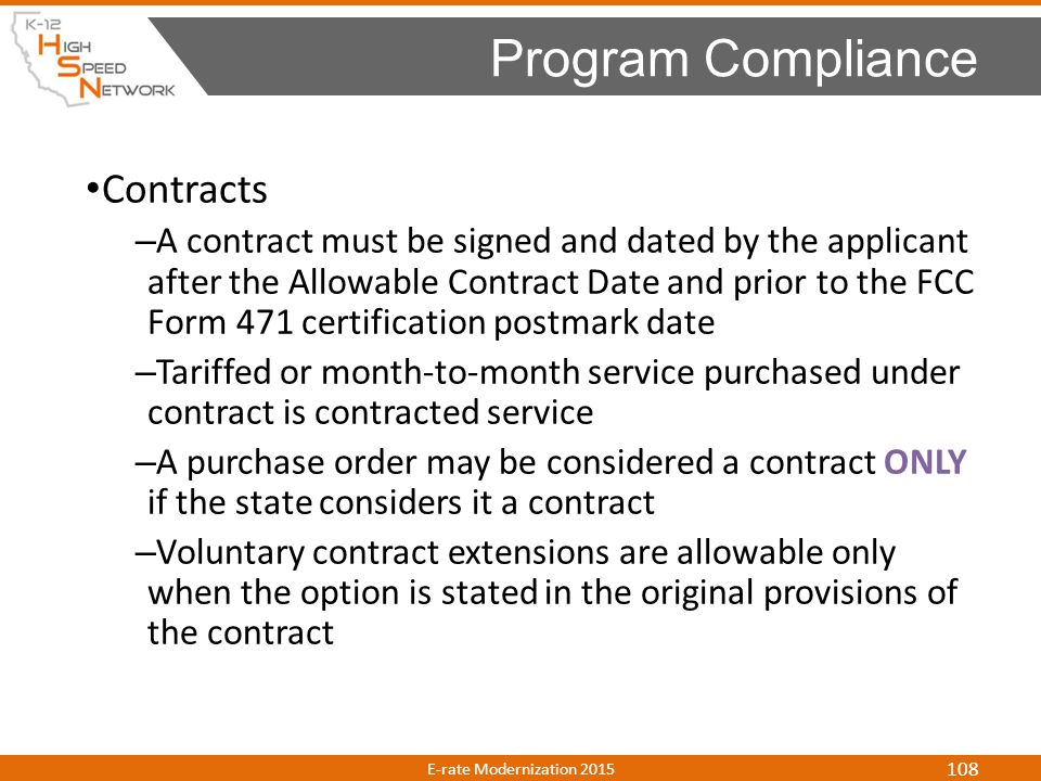 Program Compliance Contracts