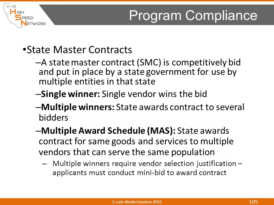 Program Compliance State Master Contracts