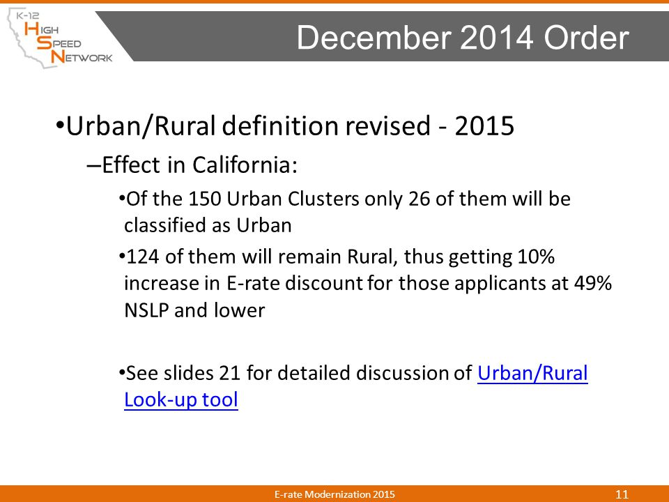 December 2014 Order Urban/Rural definition revised - 2015