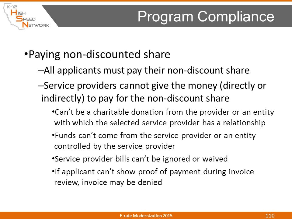 Program Compliance Paying non-discounted share