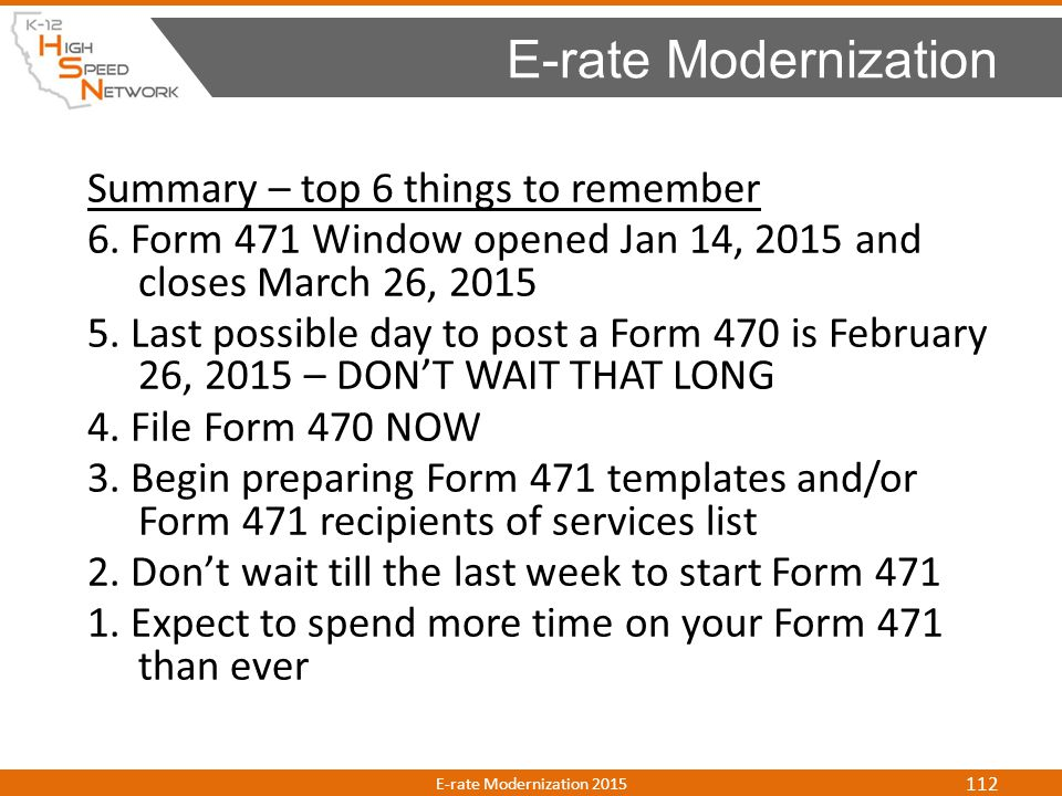 E-rate Modernization Summary – top 6 things to remember