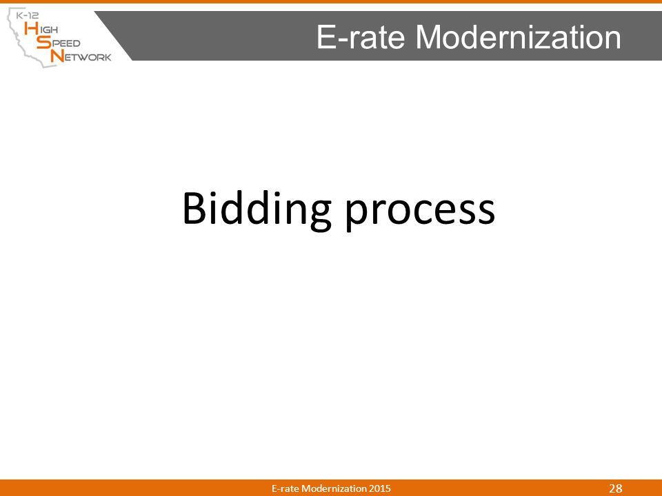 E-rate Modernization Bidding process E-rate Modernization 2015
