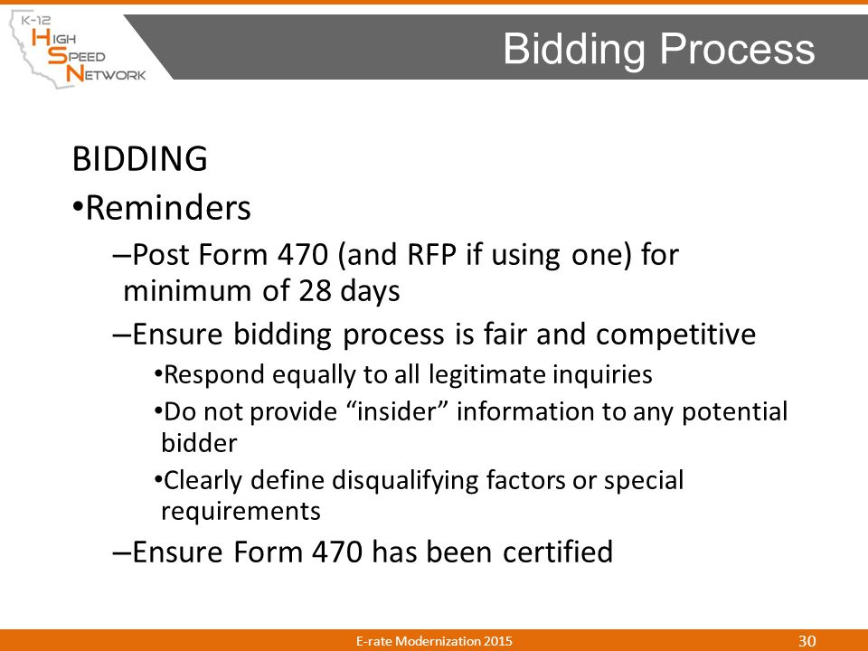 Bidding Process BIDDING Reminders