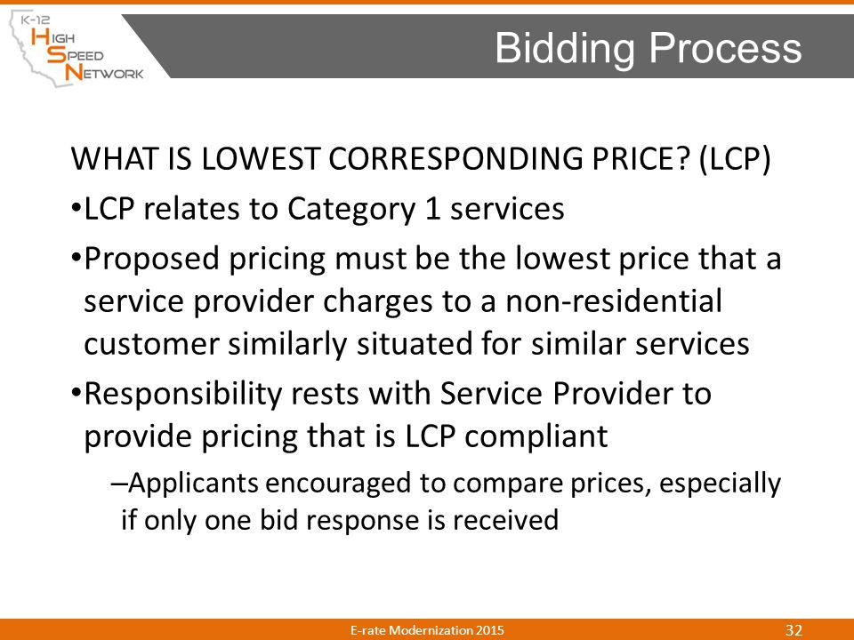 Bidding Process WHAT IS LOWEST CORRESPONDING PRICE (LCP)