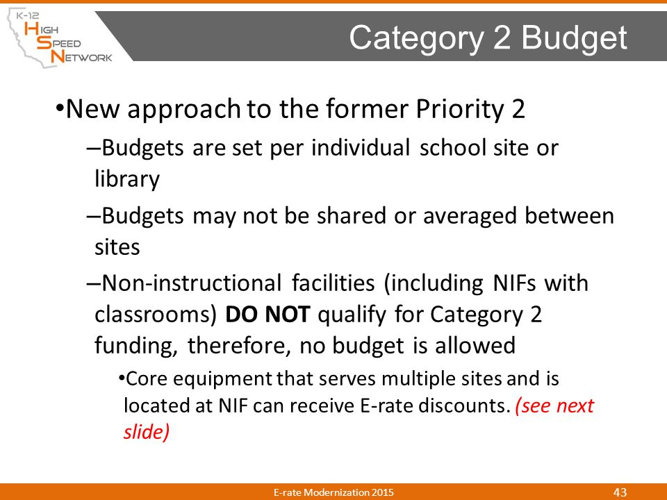 Category 2 Budget New approach to the former Priority 2