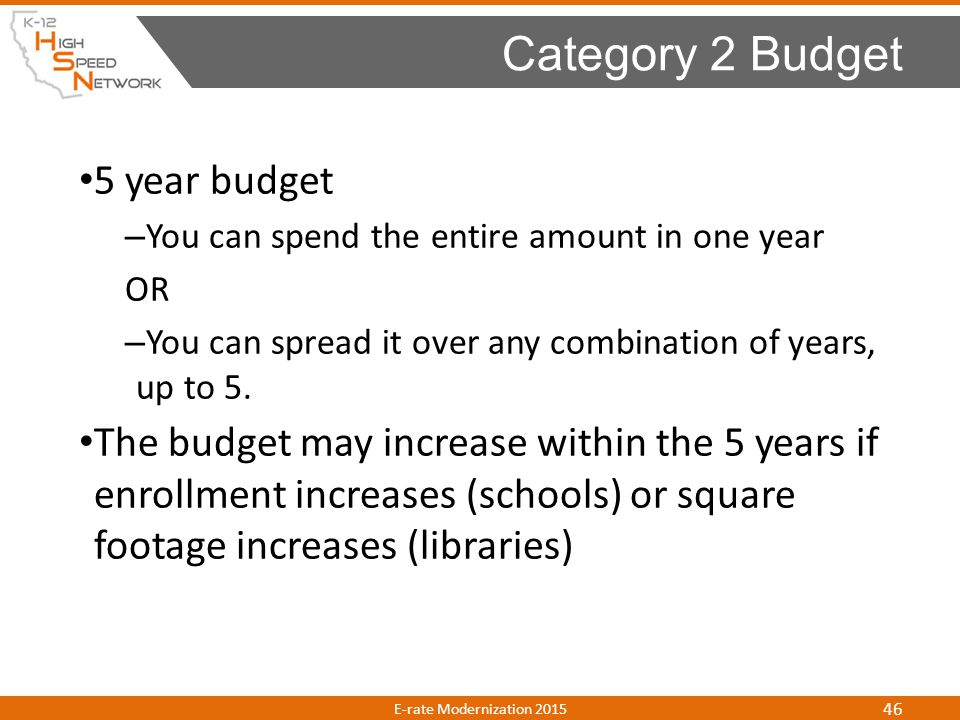 Category 2 Budget 5 year budget