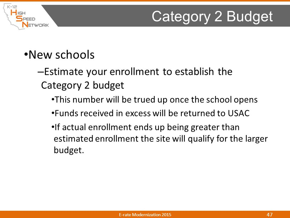 Category 2 Budget New schools