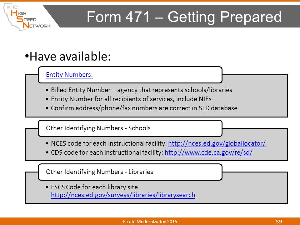 Form 471 – Getting Prepared