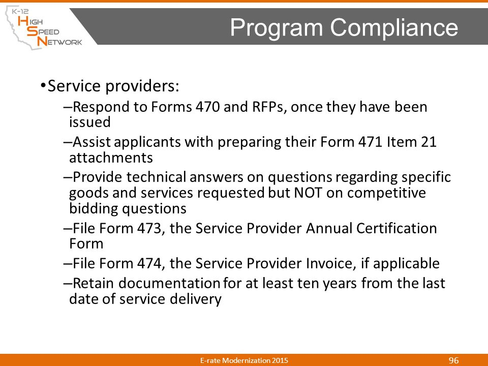 Program Compliance Service providers: