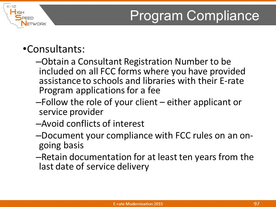 Program Compliance Consultants: