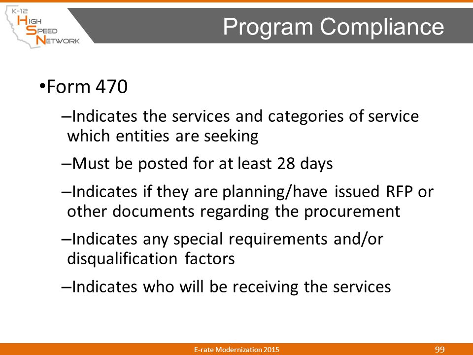 Program Compliance Form 470