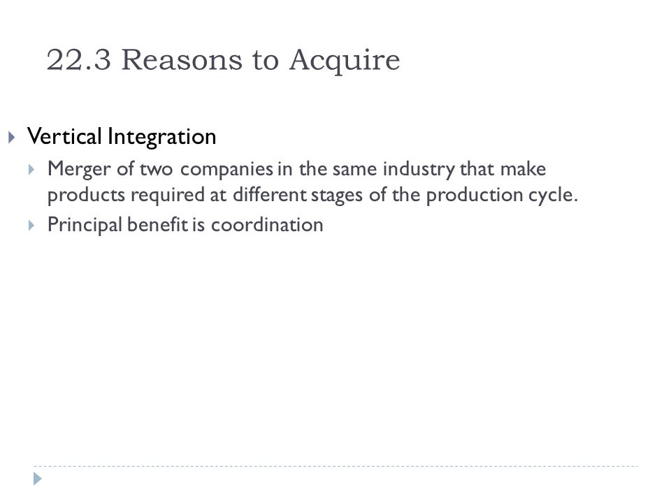 22.3 Reasons to Acquire Vertical Integration