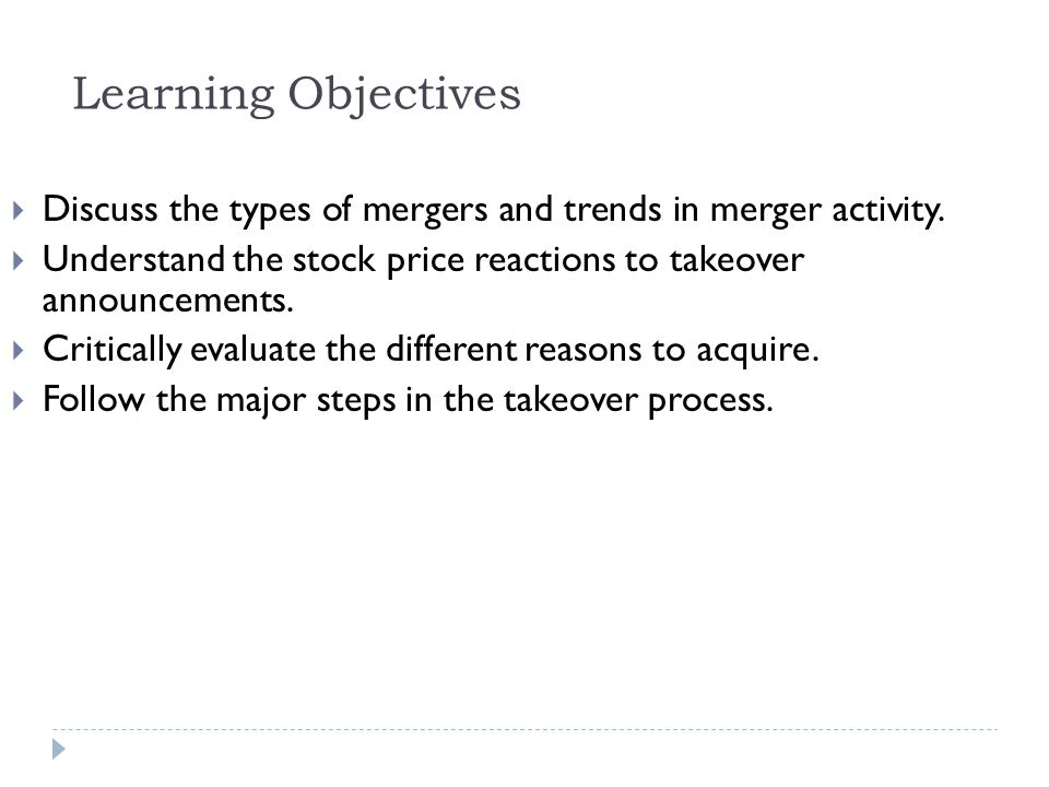 Learning Objectives Discuss the types of mergers and trends in merger activity. Understand the stock price reactions to takeover announcements.