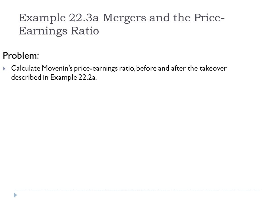 Example 22.3a Mergers and the Price-Earnings Ratio