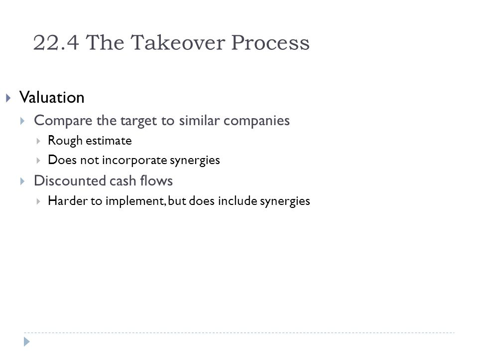 22.4 The Takeover Process Valuation