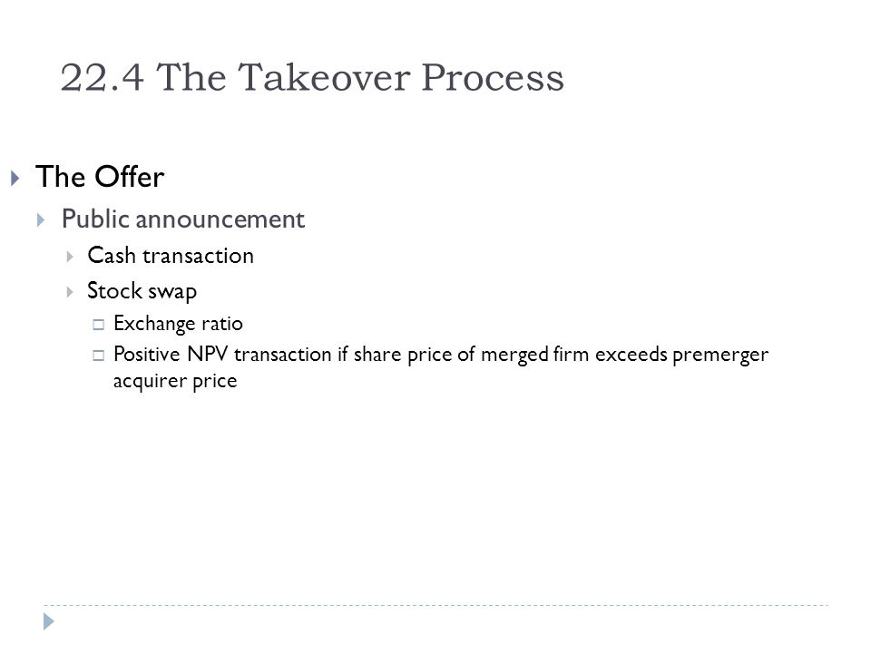 22.4 The Takeover Process The Offer Public announcement