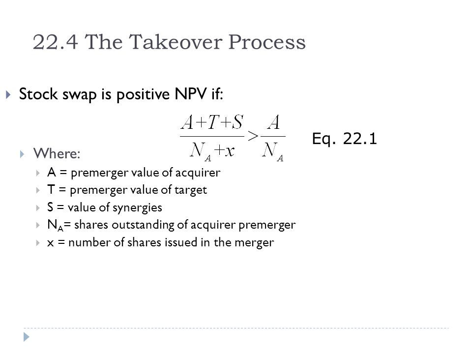 22.4 The Takeover Process Stock swap is positive NPV if: Eq. 22.1