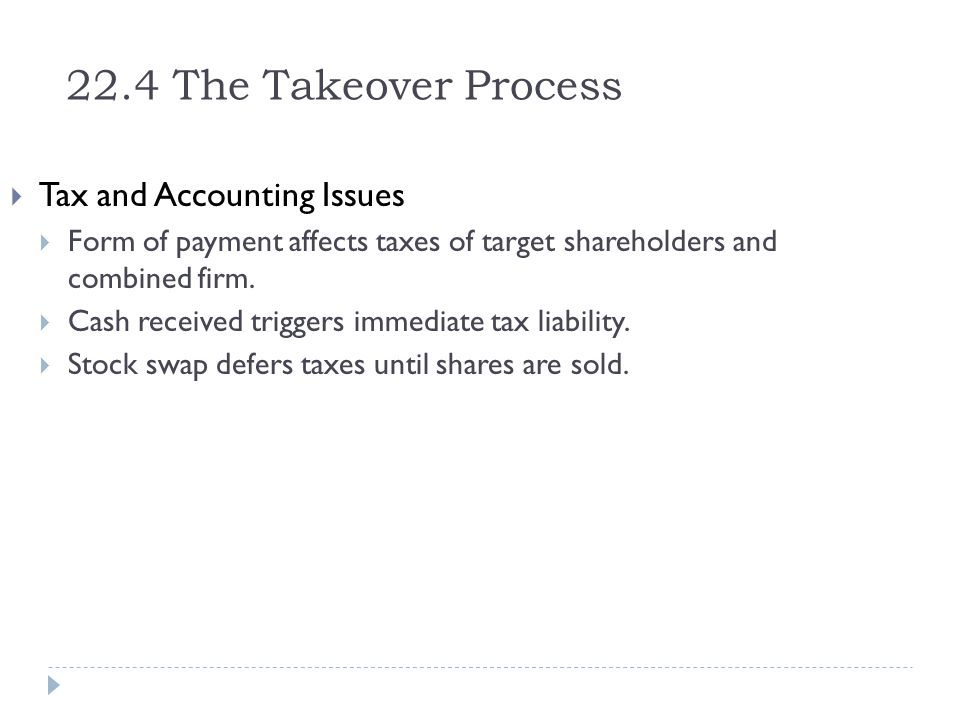 22.4 The Takeover Process Tax and Accounting Issues