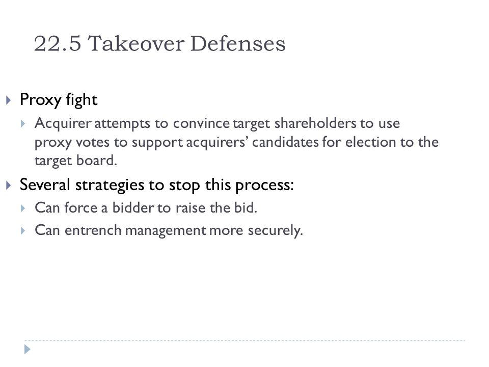 22.5 Takeover Defenses Proxy fight