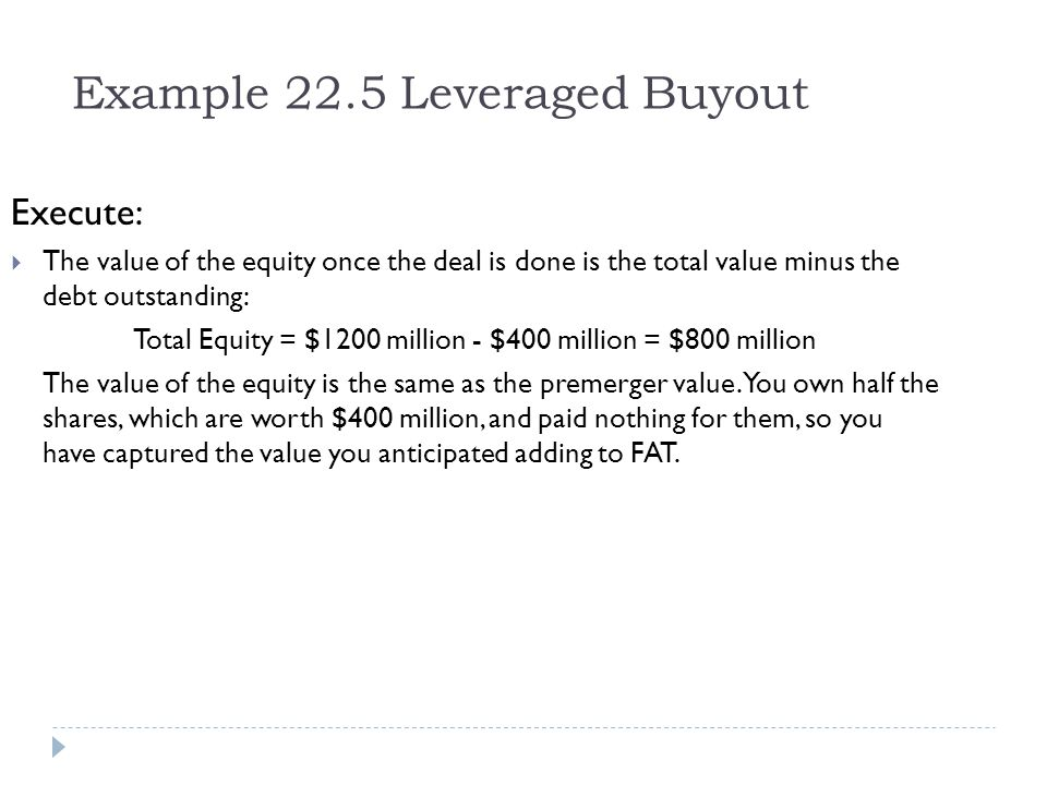 Example 22.5 Leveraged Buyout
