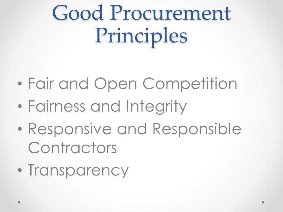 Good Procurement Principles