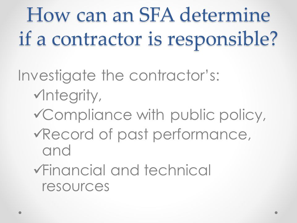 How can an SFA determine if a contractor is responsible