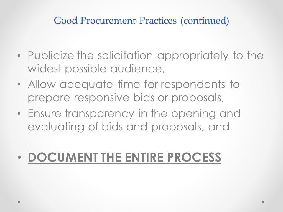 Good Procurement Practices (continued)