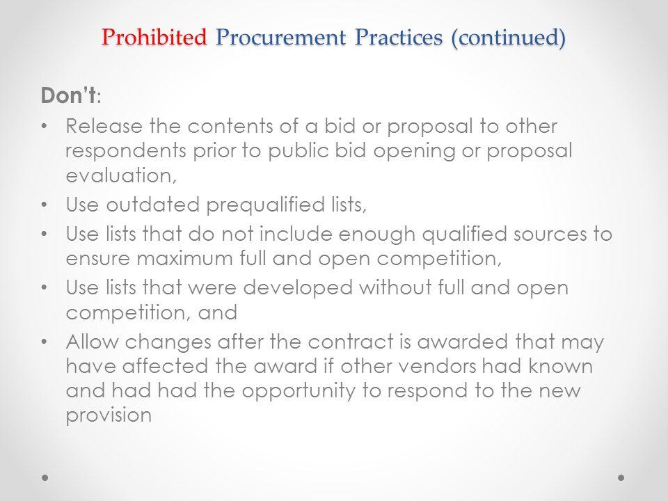 Prohibited Procurement Practices (continued)