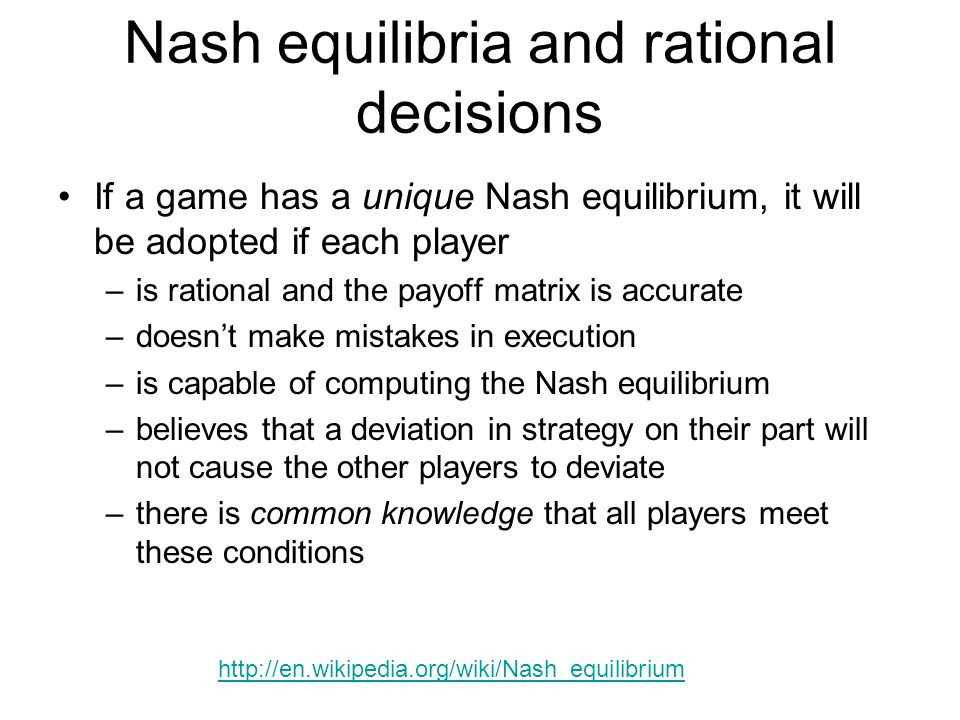 Nash equilibria and rational decisions