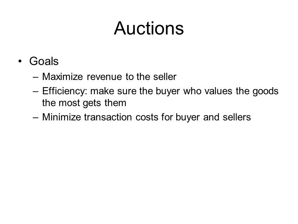 Auctions Goals Maximize revenue to the seller