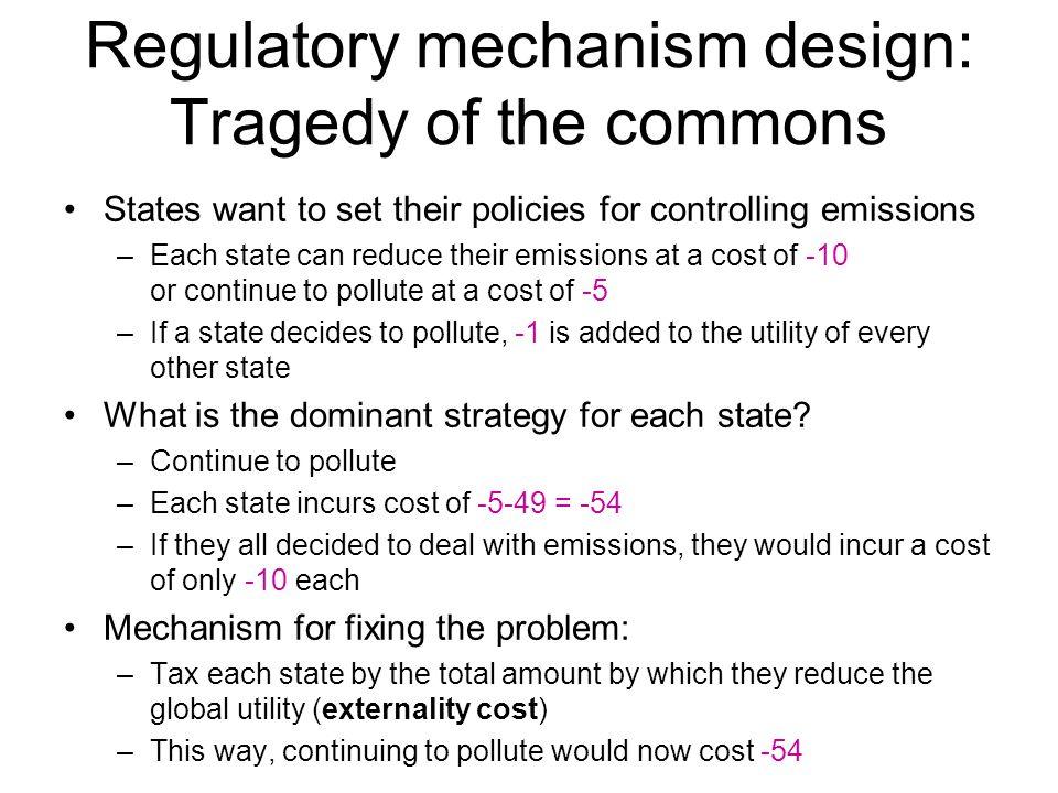 Regulatory mechanism design: Tragedy of the commons