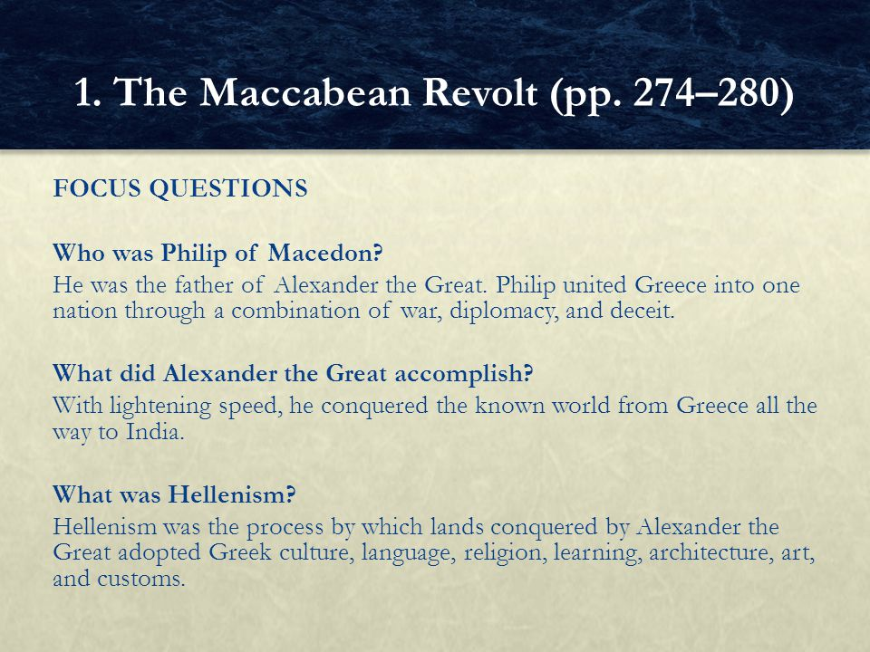 1. The Maccabean Revolt (pp. 274–280)