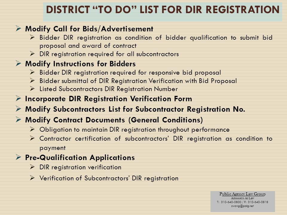 DISTRICT TO DO LIST FOR DIR REGISTRATION