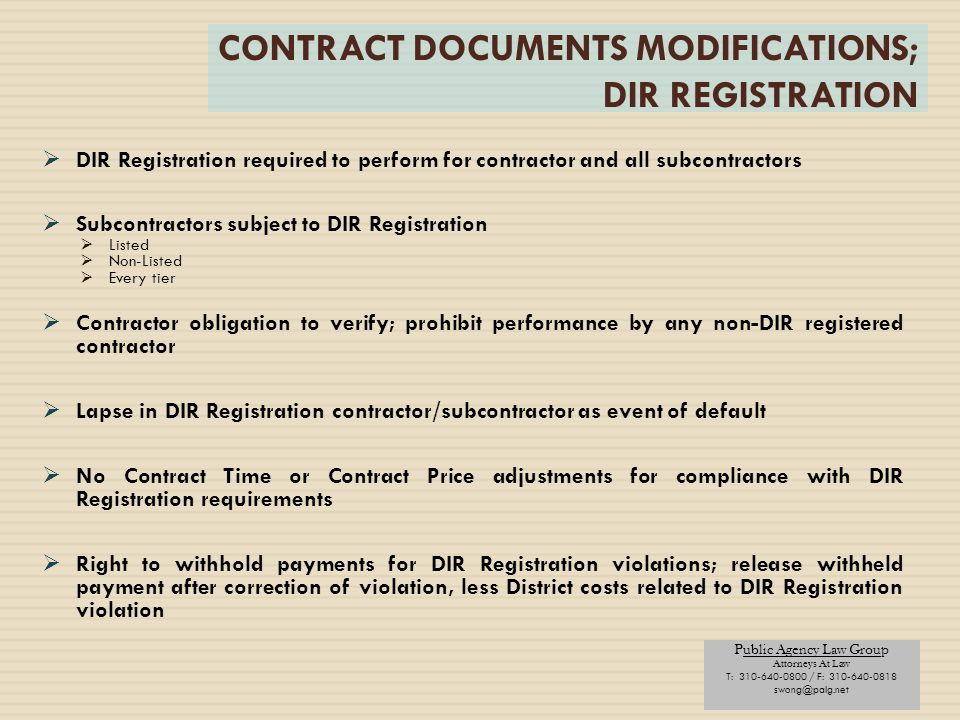 CONTRACT DOCUMENTS MODIFICATIONS; DIR REGISTRATION