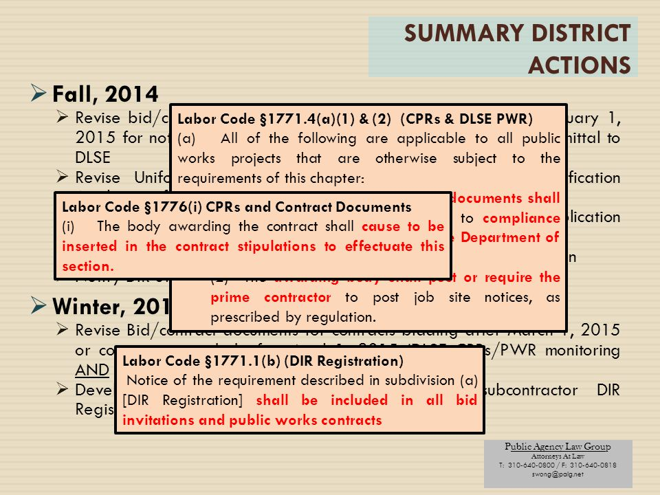 SUMMARY DISTRICT ACTIONS