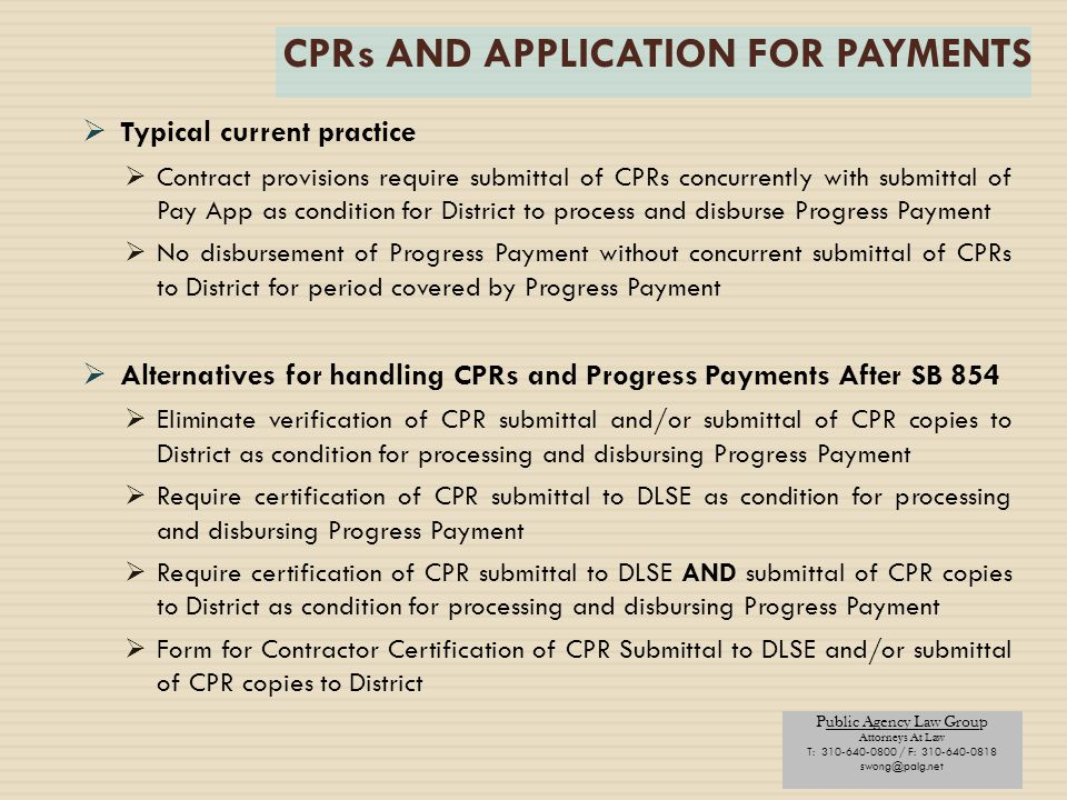 CPRs AND APPLICATION FOR PAYMENTS