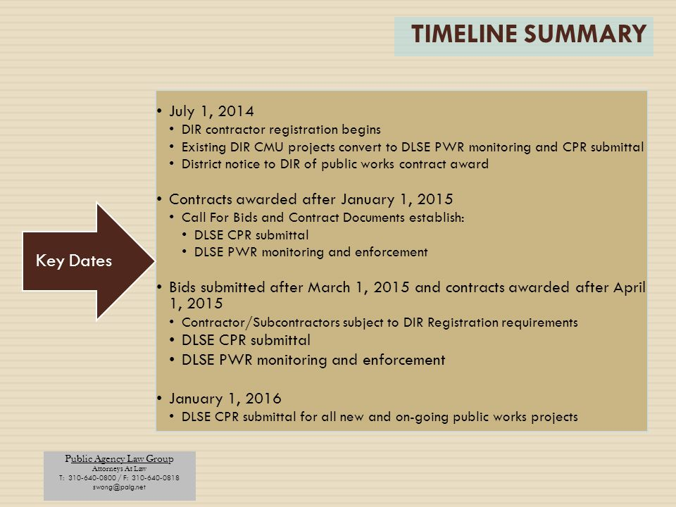 TIMELINE SUMMARY Key Dates July 1, 2014
