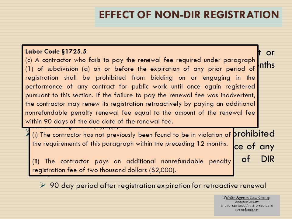 EFFECT OF NON-DIR REGISTRATION