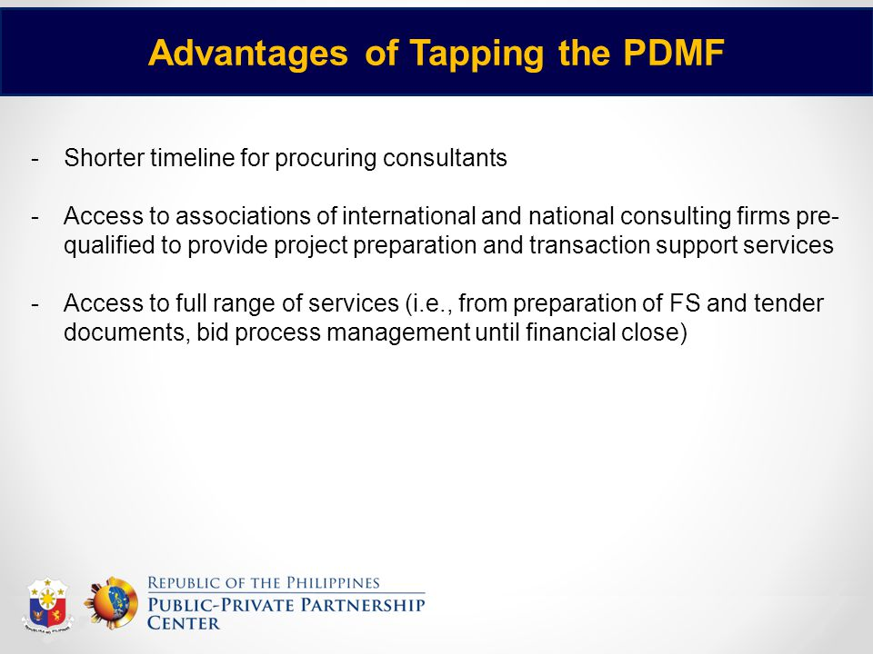 Advantages of Tapping the PDMF