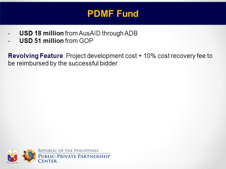 PDMF Fund USD 18 million from AusAID through ADB