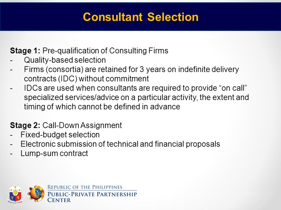 Consultant Selection Stage 1: Pre-qualification of Consulting Firms