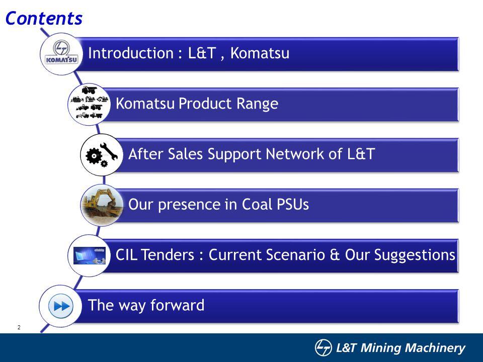 Contents Introduction : L&T , Komatsu Komatsu Product Range
