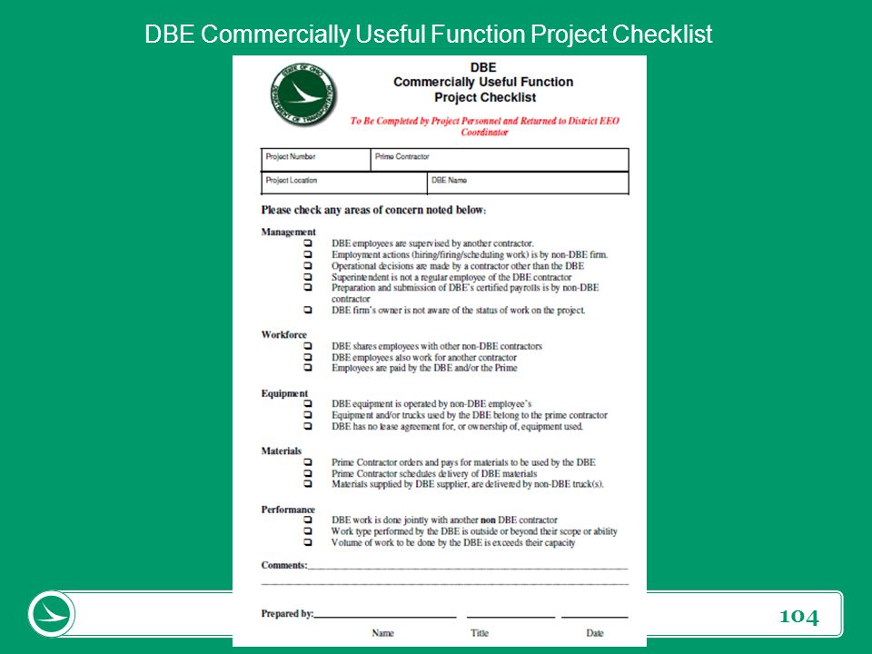 DBE Commercially Useful Function Project Checklist