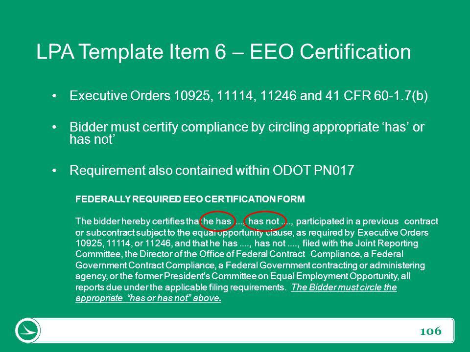LPA Template Item 6 – EEO Certification