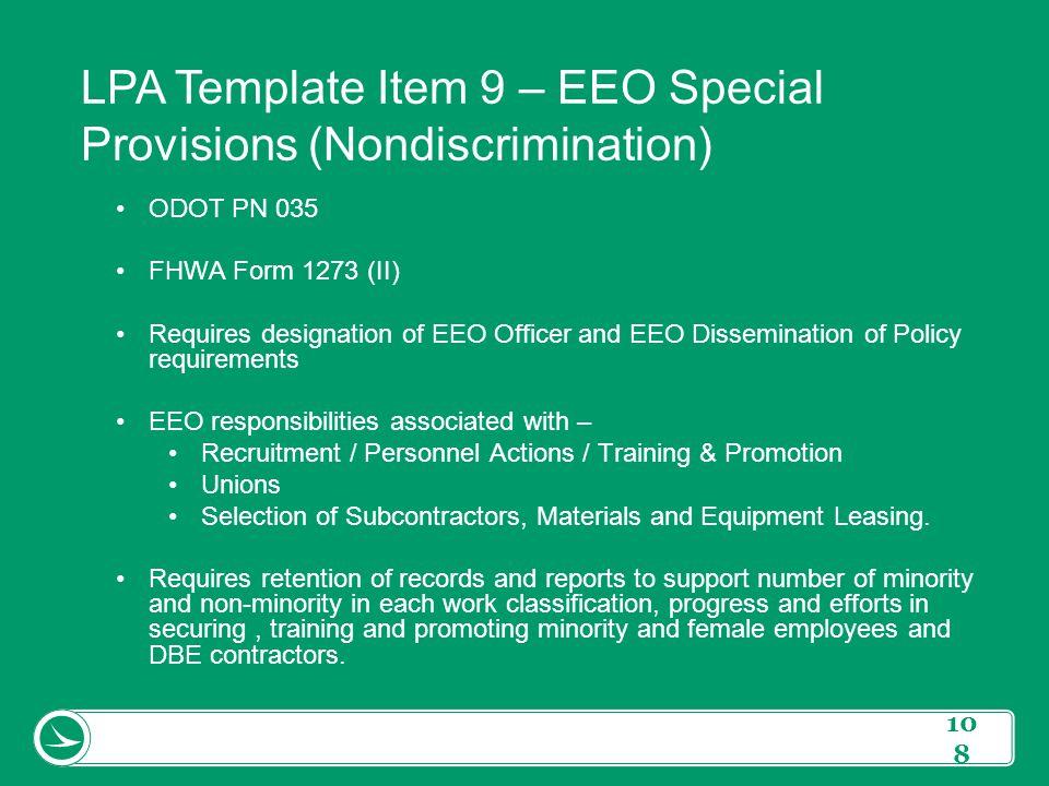 LPA Template Item 9 – EEO Special Provisions (Nondiscrimination)