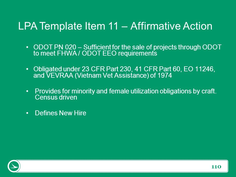 LPA Template Item 11 – Affirmative Action