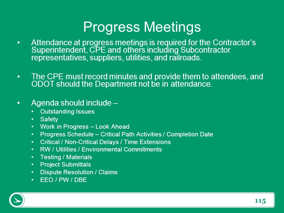 Progress Meetings