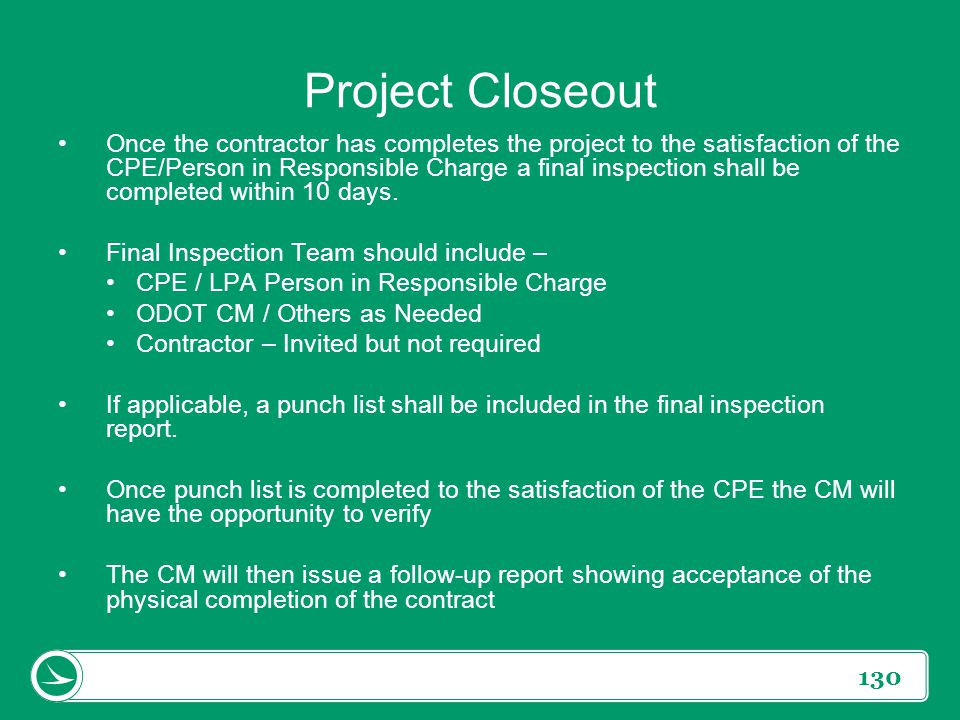 Project Closeout