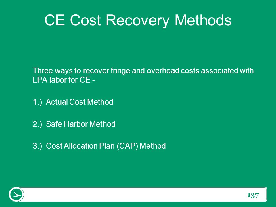CE Cost Recovery Methods